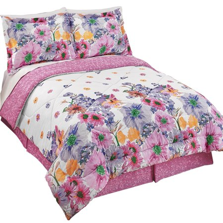 Collections etc purple and pink floral mia comforter set - Purple and pink comforter ...