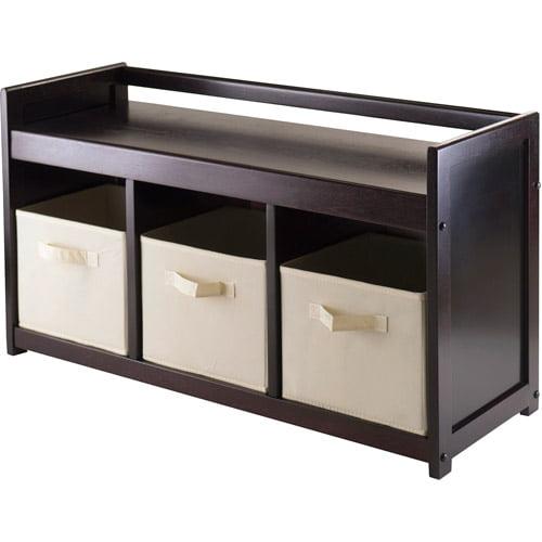Addison Entryway Storage Bench with 3 Baskets, Espresso