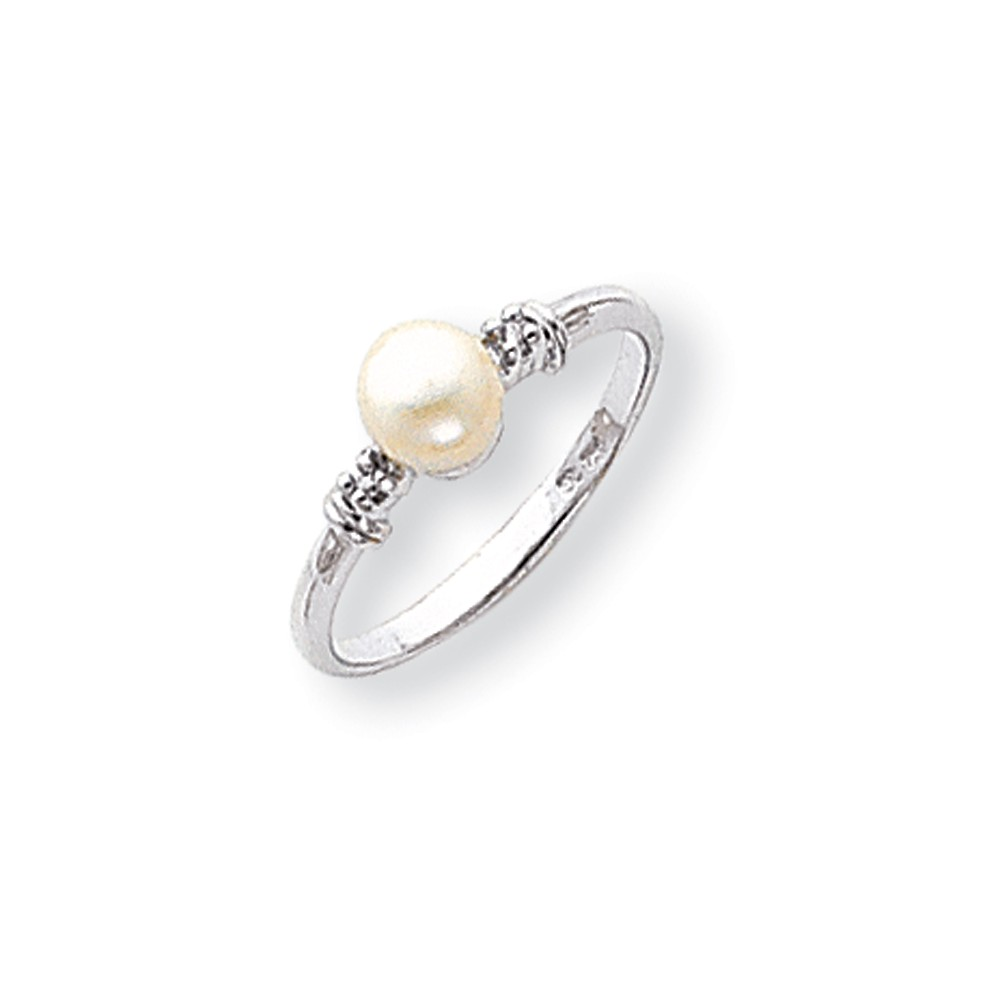14k White Gold 5mm Freshwater Cultured Pearl H-I SI2 Diamond ring