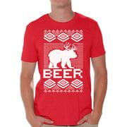 Awkward Styles Beer Bear Deer Christmas Tshirts for Men Funny Bear with Antlers Shirt Christmas Deer Shirt Men's Holiday Tee Ugly Christmas T-shirt Funny Tacky Party Holiday Top Beer Bear Xmas Shirt