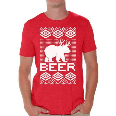 Awkward Styles Beer Bear Deer Christmas Tshirts for Men Funny Bear with Antlers Shirt Christmas Deer Shirt Men