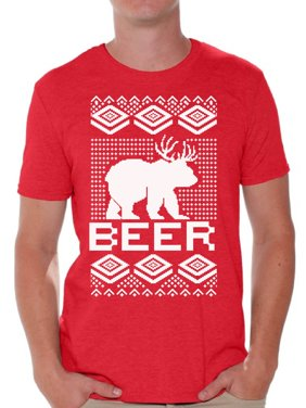 88ebe467 Product Image Awkward Styles Beer Bear Deer Christmas Tshirts for Men Funny  Bear with Antlers Shirt Christmas Deer