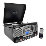 Pyle PTCD8UB - Retro Style Turntable Plays AM/FM Radio, MP3/WMA via USB/SD Card Readers, and Vinyl-to-MP3 Encoding Function (Black)
