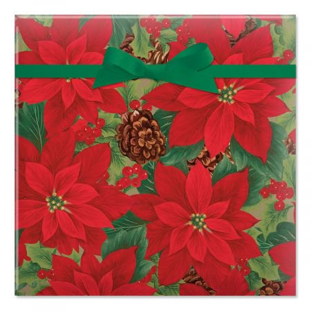 Poinsettia with Pinecones Jumbo Rolled Christmas Wrapping Paper - 72 sq. ft.