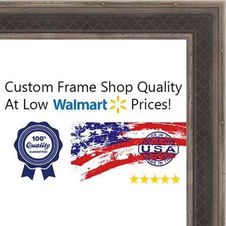 27x39 Checkered Navy Blue w/ Dark Antique Silver Raised Trim Wood Frame - 'Oxford I' Medium - Great for Posters, Ph