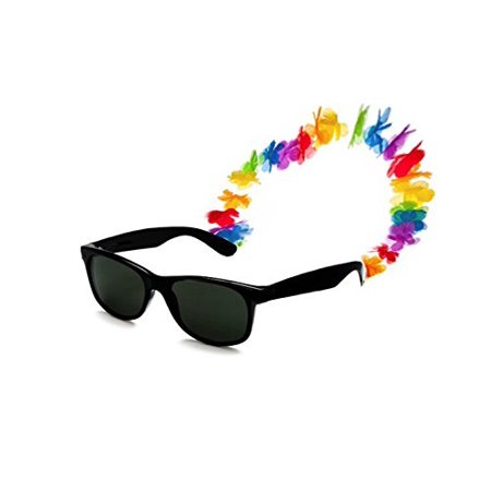 Luau Sunglasses with Silk Flower Lei Holder Party Favor (1/Pkg) Pkg/6 - Luau Party Ideas Food