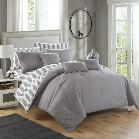 Chic Home CS2145-US 10 Piece Schagen Reversible Contemporary Diamond Embroidered Quilted Pattern Comforter Bedding Set, Grey - Queen ()