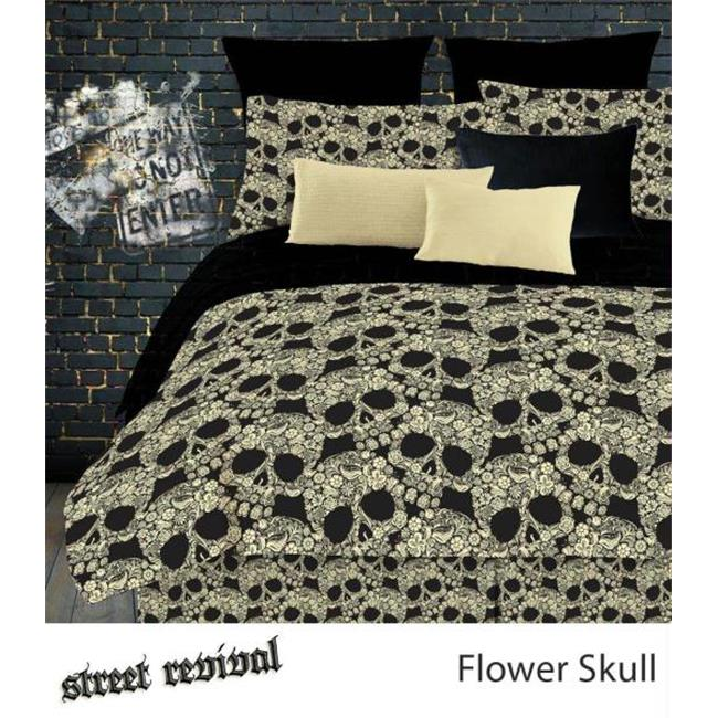 FLOWER SKULLS 736425439971 FLOWER SKULLS COMFORTER SET - BLACK-TAN