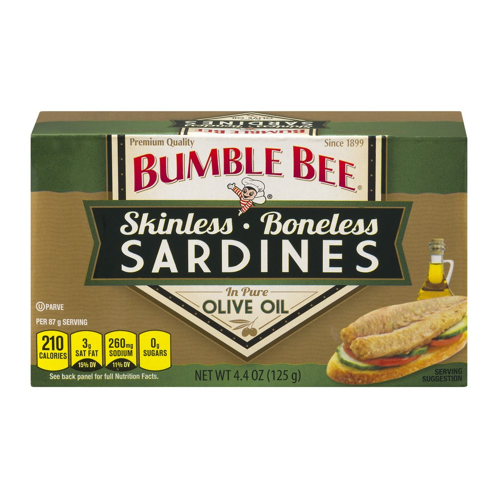 Bumble Bee Skinless and Boneless Sardines in Olive Oil, 4.4oz can by Bumble Bee Foods, LLC