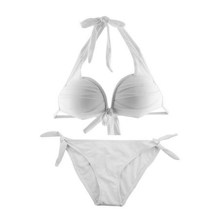 - Neck Halter Support Padding Bra Triangle Top Bikini Set Women Swimsuit