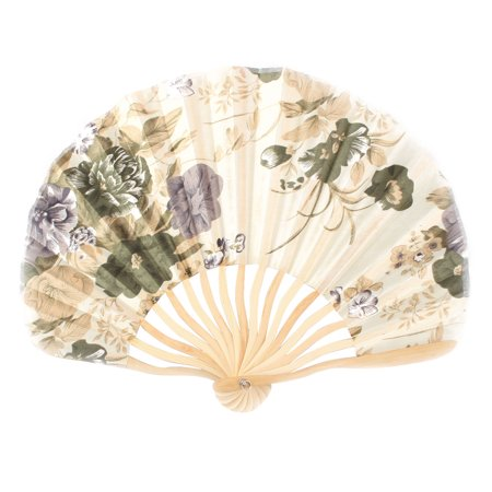 Womens Pennies - Women Wedding Party Bamboo Frame Peony Printed Hand Folding Cooling Fan Colorful