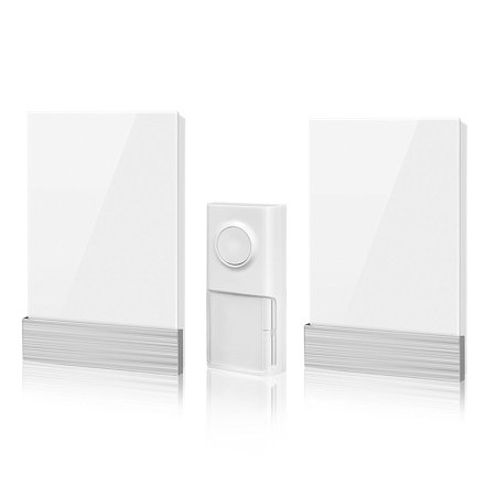 Musical Doorbell (Wireless Doorbell, Nekteck Plug-in Doorbell Chime Battery-Free Kinetic Push Button Transmitter with Over 25 Musical Tones, 3 Volume Levels [150m Range / IP44 Water Proof] - [1 Button & 2 Plugin Chime] )