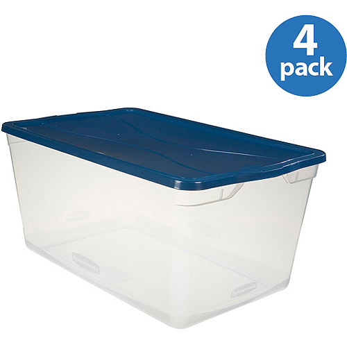 Rubbermaid 23.75-Gallon (95-Quart) Clever Store Container, Clear/Comfort Blue, Set of 4
