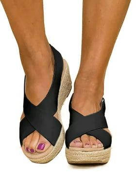 Women Wedge Platform Sandals Espadrille Slingback Ankle Buckle Peep Toe Summer Shoes