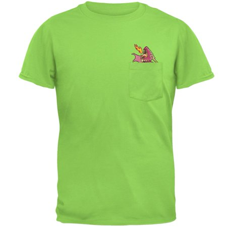 Whimsical World Of Pocket Dragons (Pink Dragon RAWR Pocket Pet Mens Pocket T)