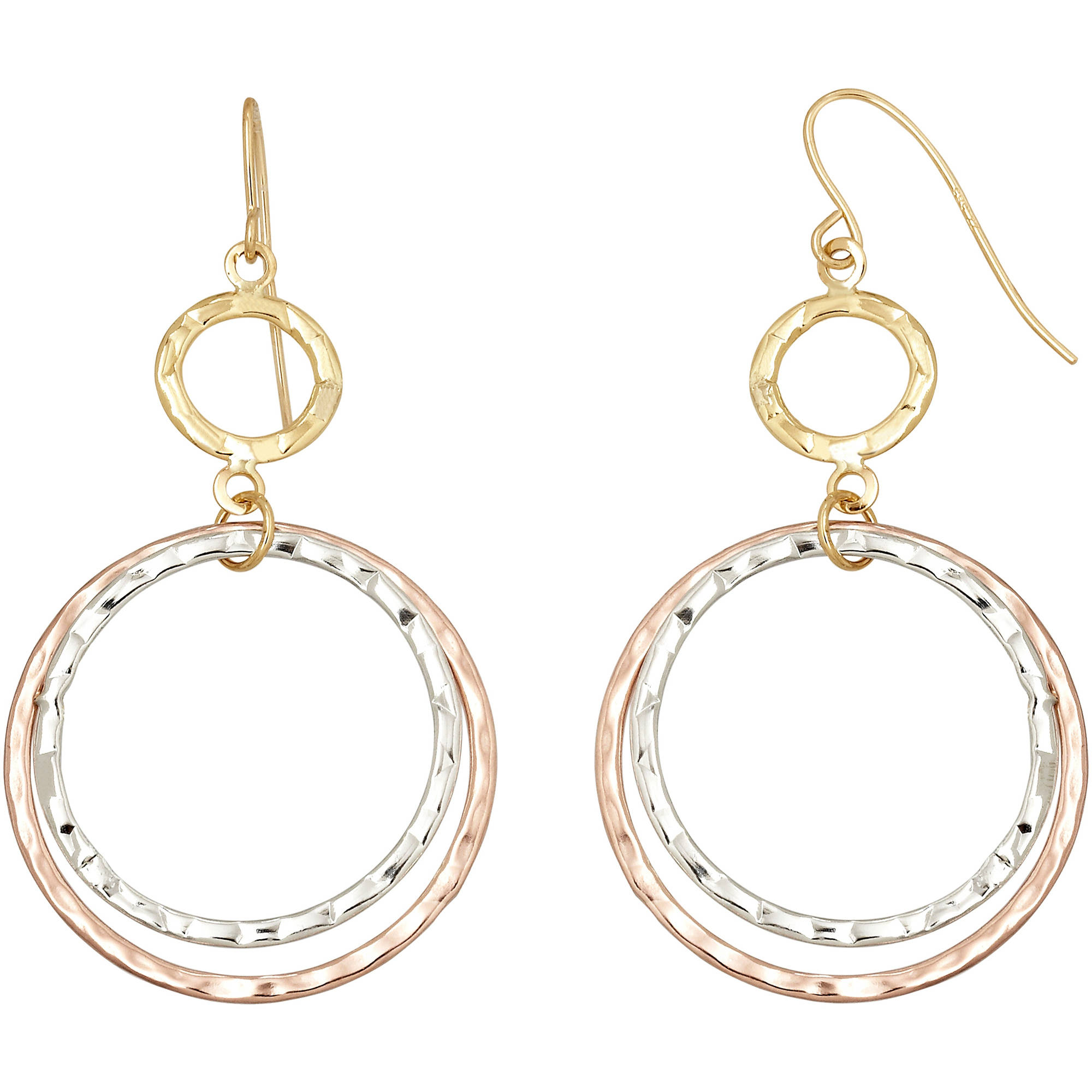 Simply Gold Triple Circle Drop Earrings in 10kt Yellow, Pink and White Gold