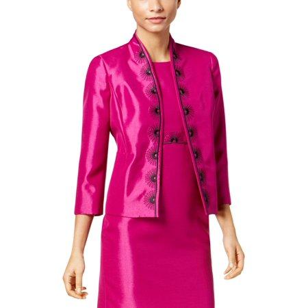 Kasper Womens Embroidered Shimmer Blazer ()