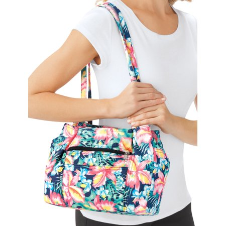 Women's Multi Pocket Denim Shoulder Bag with Double Straps, Floral - Floral Print Beach Bag