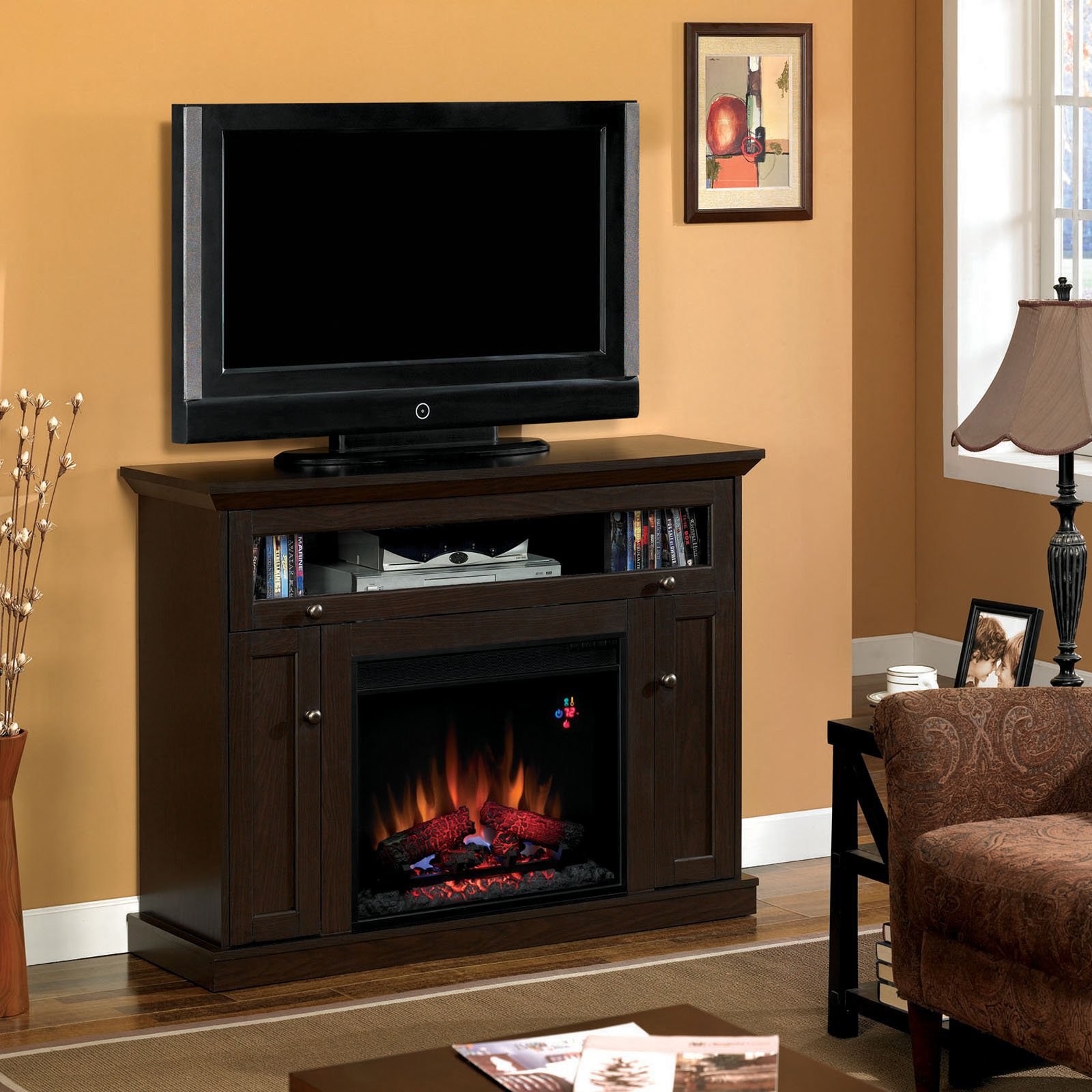 Classic Flame Windsor Infrared Electric Fireplace Entertainment Center - Cherry