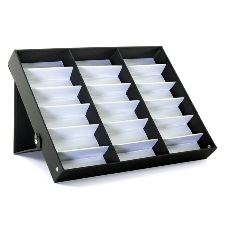 ProSource 18 Piece Sunglass Eyewear Eye Wear Display Tray Case (Glass Display Dome Case)