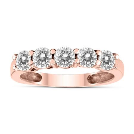 1 Carat TW Five Stone Diamond Wedding Band in 14K Rose
