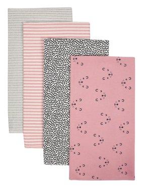 Gerber Baby Girl Organic Flannel Receiving Blankets, 4-Pack