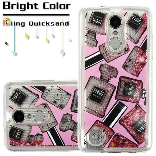 For LG Aristo 2 / LG Zone 4 (2018) / LG Tribute Dynasty / LG K8 (2018) / LG Fortune 2 Case Hybrid Quicksand Liquid Glitter TPU Phone Cover (Perfume & Polish & Pink Quicksand Glitter)
