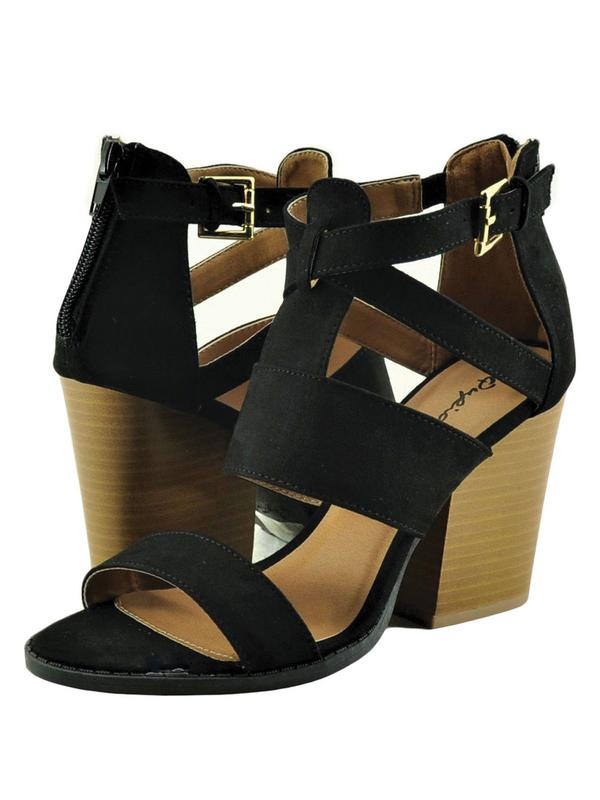 Qupid Barnes 115A Women's Shoe Open Toe Gladiator Caged Stacked Heel Black