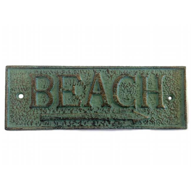 Handcrafted Model Ships K-49003-bronze 10 in. Cast Iron Beach Sign - Antique Bronze