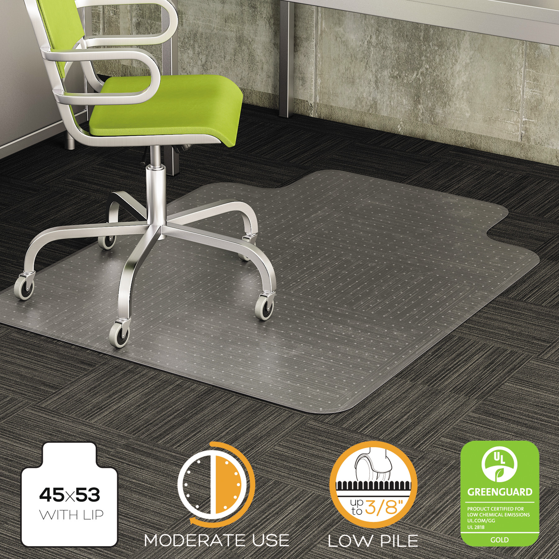 Deflecto DuraMat 45 x 53 Chair Mat for Low Pile Carpet, Rectangular with Lip