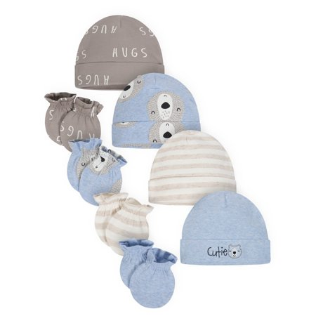 Gerber Organic Cotton Caps and Mittens Accessories Set, 4pc (Baby (Baby And Toddler Accessories)