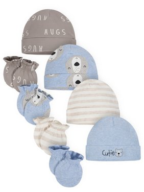 Gerber Organic Cotton Caps and Mittens Accessories Set, 4pc (Baby Boys)