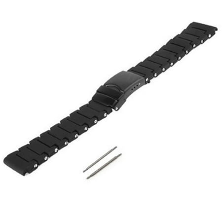 23mm Black Polyurethane Rubber Link Bracelet Watch Band Luminox 3050 3950 NAVY SEAL COLORMARK Black with PVD Buckle