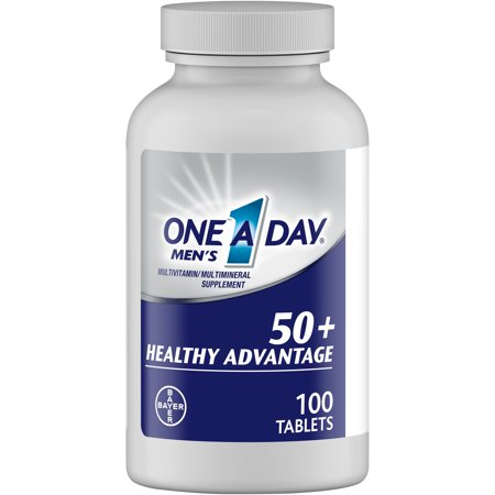 One A Day Men's 50+ Healthy Advantage Multivitamin, Supplement with Vitamins A, C, E, B6, B12, Calcium and Vitamin D, 100