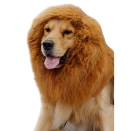 Large Pet Cat Dog Wigs Lion Mane Hair Costumes Festival Party Fancy Dress up Christmas Halloween Clothes Light Brown L](Body Painting Per Halloween)