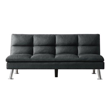 Piscis Futon Sofa Bed Twin Size, Convertible Tufted Sleeper Polyester Sofa, Adjustable Backrest, Dark Gray