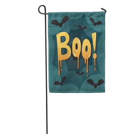 KDAGR Orange Abstract Halloween Message Boo Text Bats and Spider Yellow Garden Flag Decorative Flag House Banner 12x18 inch](Halloween Messages)