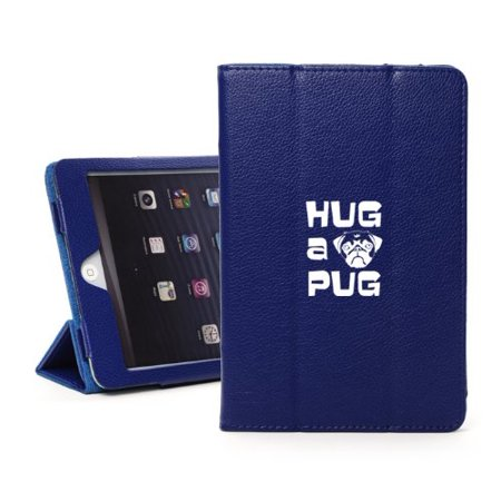For Apple iPad Mini 4 Blue Leather Magnetic Smart Case Cover Hug A - Magnetic Hugs