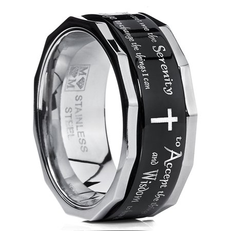 Men's Women's Black Stainless Steel Religious Cross Serenity Prayer Spinner Ring 9MM