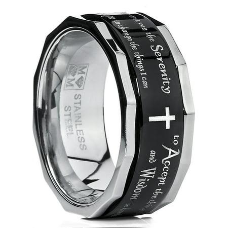 Men's Women's Black Stainless Steel Religious Cross Serenity Prayer Spinner Ring - Christ Spinner Ring