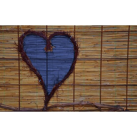 Bamboo Rattan (Canvas Print Bamboo Blue Purple Decorative Lilac Rattan Heart Stretched Canvas 10 x)