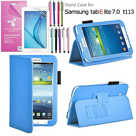 Galaxy Tab E Lite 7.0 Case, for SM-T110/T111, T113/T116, EpicGadget(TM) Auto Sleep/Wake Premium PU Leather Folding Folio Cover Case with Built in Stand + Screen Protector + 1 Pen (Light Blue) ()