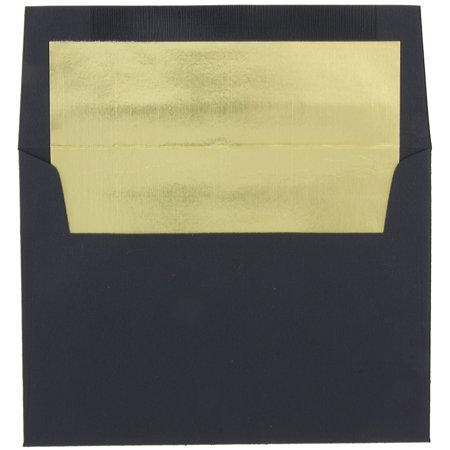 JAM Paper A8 Foil Lined Invitation Envelopes, 5 1/2 x 8 1/8, Black Linen with Gold Foil Lining, - 2 Tin Envelopes