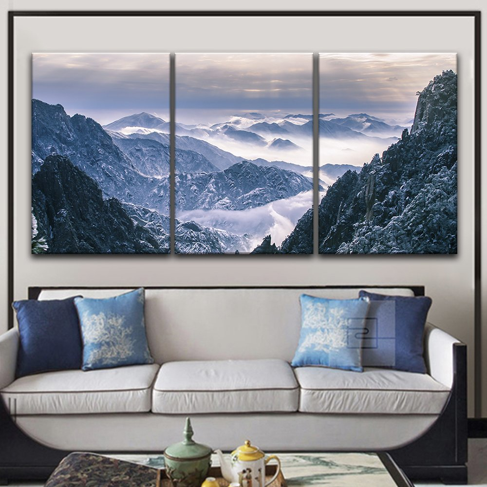 "wall26 3 Panel Canvas Wall Art - Landscape of Snow Covered Mountains - Giclee Print Gallery Wrap Modern Home Decor Ready to Hang - 24""x36"" x 3 Panels"