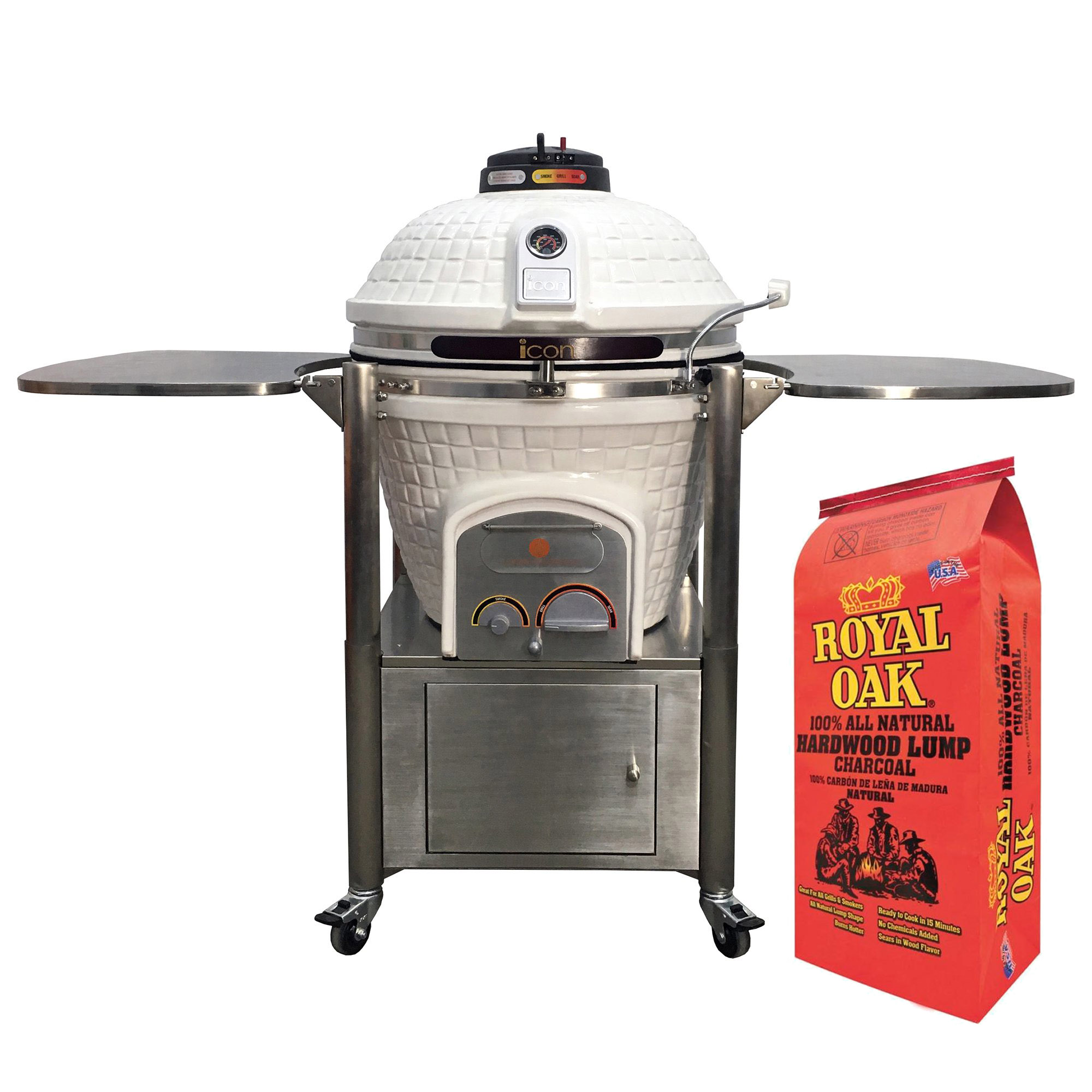 Icon Grills 800 Series 714 Sq In Black Kamado Grill with Royal Oak Lump Charcoal