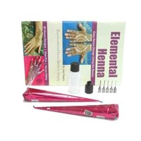 """""""Fun and Easy Henna Tattoo Kit: 2 Ready Made Mehndi Cones & Soft Squeeze Applicator Kit with Design Book"""""""