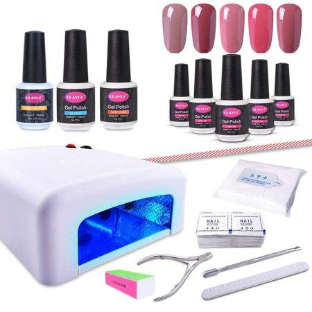 CLAVUZ Gel Nail Polish Kit with UV Light Soak Off Nail Polish ...