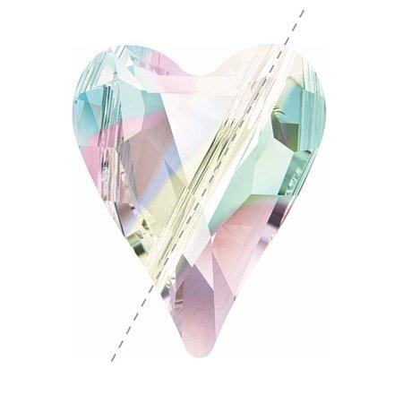 Swarovski Crystal Heart Beads (Swarovski Crystal, #5743 Wild Heart Bead 17mm, 1 Piece, Crystal AB )