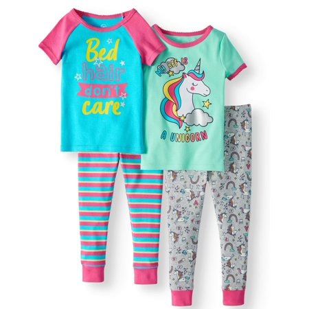 Best Girls Pajamas (Toddler Girls' Cotton Tight Fit Pajamas, 4-Piece)