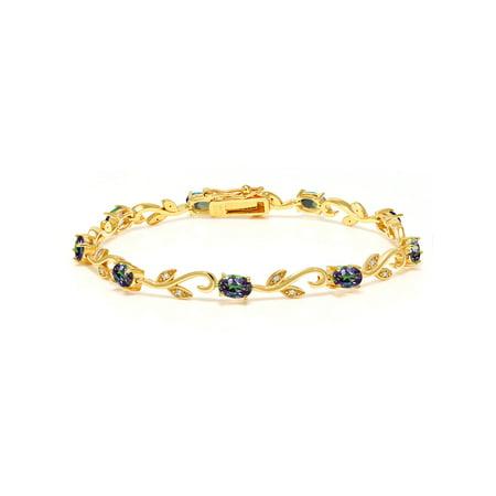 4.63 Ct Green Mystic Topaz White Diamond 18K Yellow Gold Plated Silver Bracelet